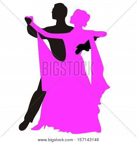 Silhouettes of people dancing the waltz. Vector illustration.