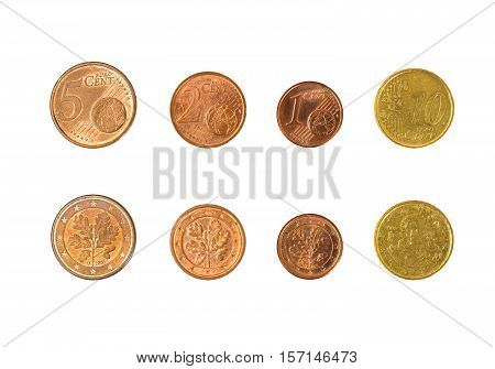 Minsk, Belarus - April 16, 2016: Four EU eurocent. 1, 2 5 10 eurocents 100 cents - 1 euro There are coins of 1 2 5 10 20 and 50 cents