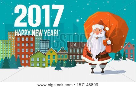 2017 New Year card with flat trendy Santa Clause in the site of a downtown view, with houses, buildings and snowflakes with sack full of gifts and presents behind his back.