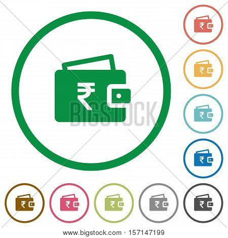 Indian Rupee wallet flat color icons in round outlines