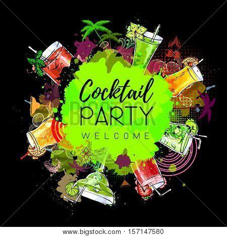 Vector illustration of Cocktail party poster design. Cocktail menu