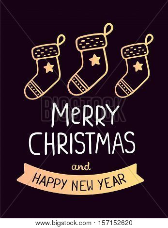 Vector Colorful Illustration Of Christmas Golden Socks With Handwritten Text Merry Christmas On Dark