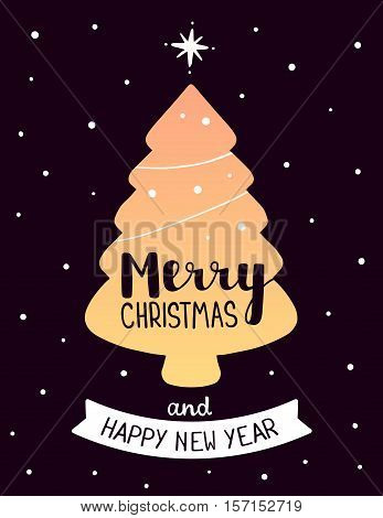 Vector Illustration Of Golden Color Christmas Shape Fir Tree With Handwritten Text Merry Christmas A