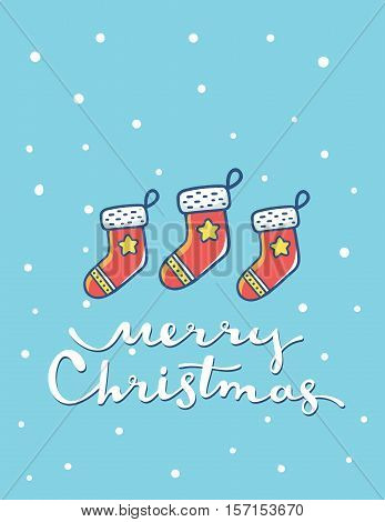 Vector Illustration Of Christmas Red Color Socks With Handwritten Text Merry Christmas On Blue Backg