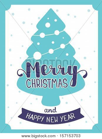 Vector Illustration Of Stylish Blue Christmas Shape Fir Tree With Handwritten Text Merry Christmas A