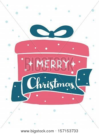 Vector Illustration Of Red Color Christmas Gift With Handwritten Text Merry Christmas And Snow On Wh