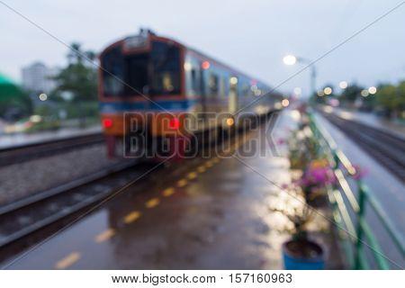 Train Wait For Passenger At Railway Station