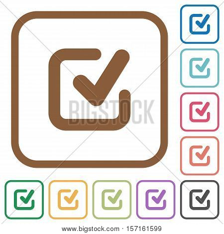 Checkmark simple icons in color rounded square frames on white background