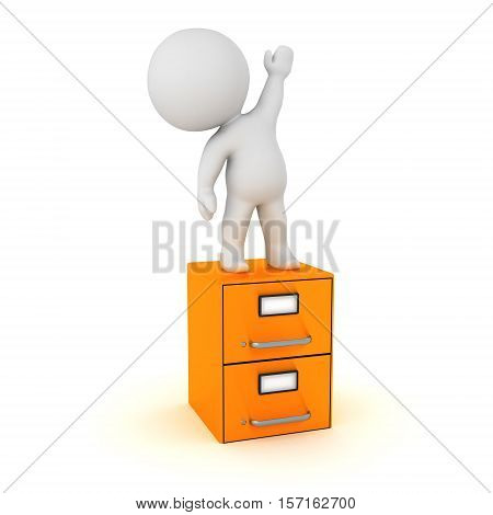 3D character standing on a small archive cabinet. Isolated on white background.