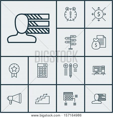 Set Of Project Management Icons On Announcement, Report And Investment Topics. Editable Vector Illus