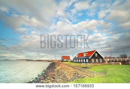 Ijsselmeer coast by Hindeloopen in Friesland Netherlands