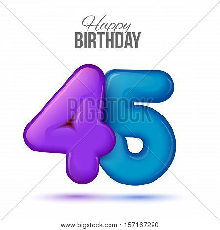 forty five birthday greeting card template with 3d shiny number forty five balloon on white background. Birthday party greeting, invitation card, banner with number 45 shaped balloon
