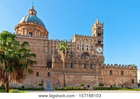 Palermo Italy - October 6 2009: The Cathedral of Palermo is an architectural complex in Palermo (Sicily Italy). The church was erected in 1185 by Walter Ophamil the Anglo-Norman archbishop of Palermo and King William II's minister