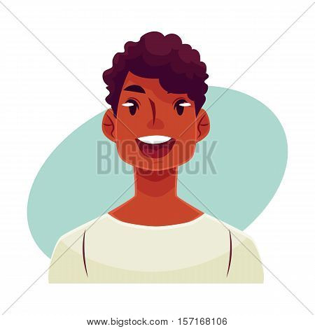 Young african man face, wow facial expression, cartoon vector illustrations isolated on blue background. Handsome boy emoji surprised, amazed, astonished. Surprised, wow face expression