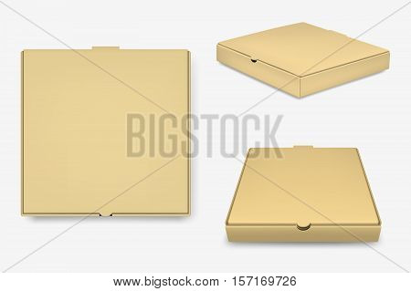 Brown pizza box template isolated on white background. Vector EPS10 illustration.