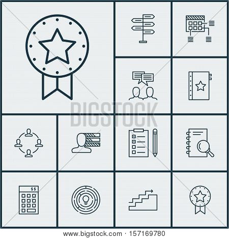 Set Of Project Management Icons On Collaboration, Innovation And Growth Topics. Editable Vector Illu