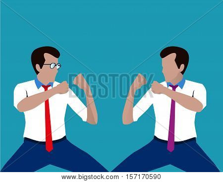 Fighting Businessman. Concept Business Illustration. Vector Flat
