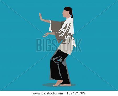 Woman Performing Tai Chi. Concept Illustration. Vector Flat