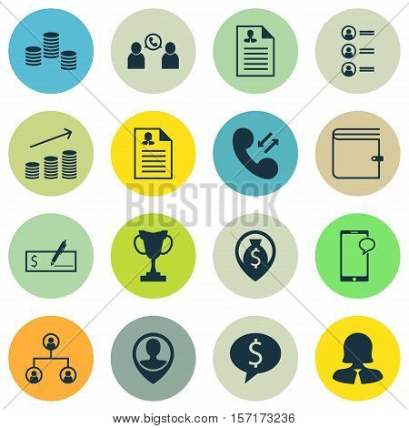 Set Of Human Resources Icons On Coins Growth, Bank Payment And Cellular Data Topics. Editable Vector