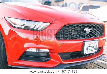 Santa Monica CA USA. October 8th 2015. The ford Mustang. The sixth generation Mustang was unveiled on December 5 2013
