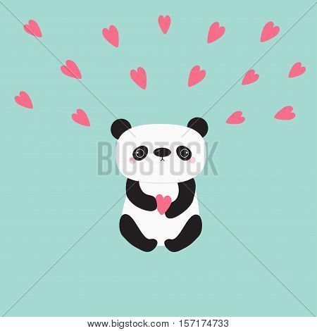 Kawaii panda baby bear. Cute cartoon character holding pink little hearts. Wild animal collection for kids. Blue background. Love card. Flat design. Vector illustration