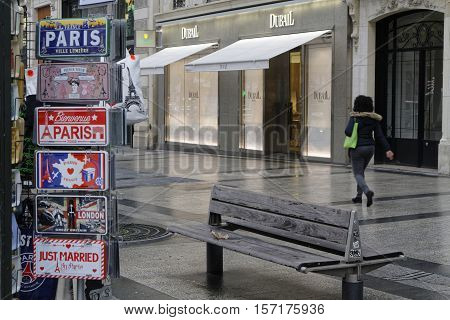 Paris, France, November 15, 2016 : Gifts For Sale In The Champs Elysees Avenue. Paris Is The Fifth M