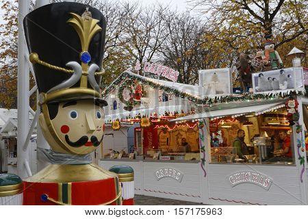 Paris, France, November 15, 2016 : The Paris Christmas Market Opens On Champs-elysees Avenue. The Hi
