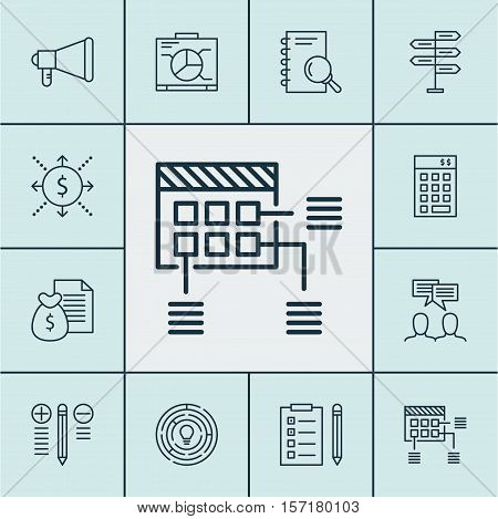 Set Of Project Management Icons On Decision Making, Announcement And Analysis Topics. Editable Vecto