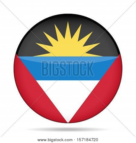 National flag of Antigua and Barbuda. Shiny round button with shadow.