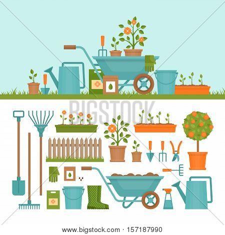 Concept of gardening. Garden tools. Banner with summer garden landscape. Flat style vector illustration.