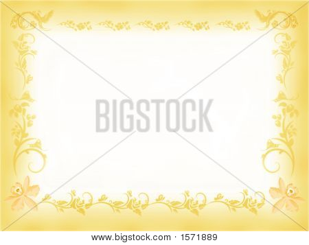 Antigue Floral Frame In Yellow
