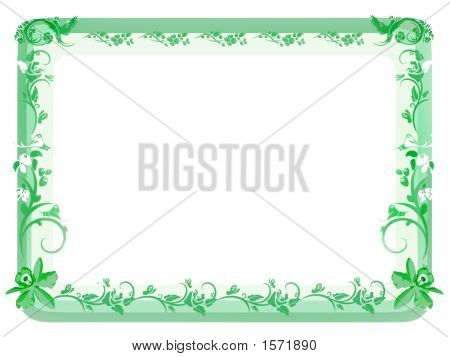 Floral Border In Green