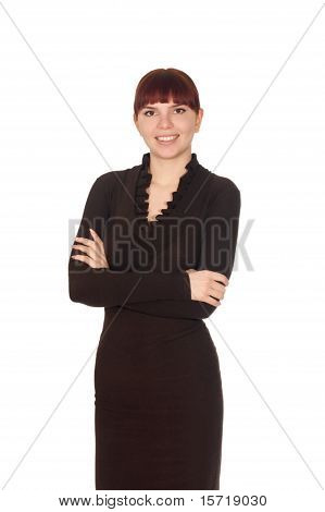 Young Cute Smiling Business Woman In Brown Dress