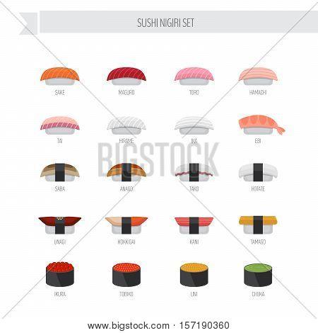 Sushi Nigiri Vector Set. Flat Style Icon.