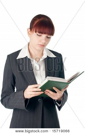 Youing Cut Business Woman With Notebook In Hands