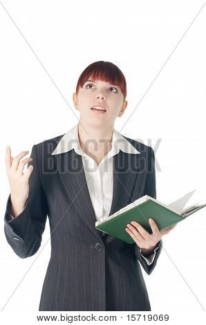 Youing Cut Business Woman With Notebook In Hand