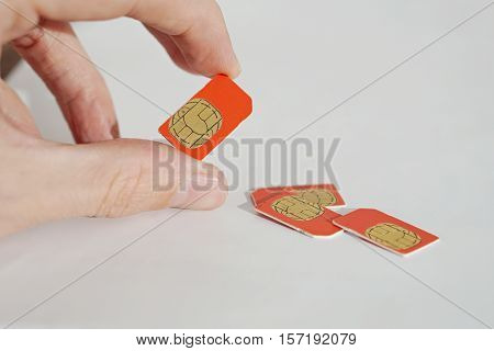 Isolated photo of male hand holding red SIM card above a group of 3 other SIM cards used in the mobile phones (cell phone devices) with a focus on their golden micro chip