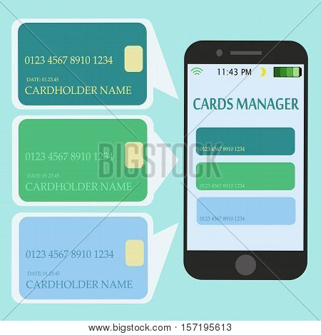 Mobile Smart Phone with Credit Cards. Internet Shopping and Electronic Payments Concept. Vector illustration