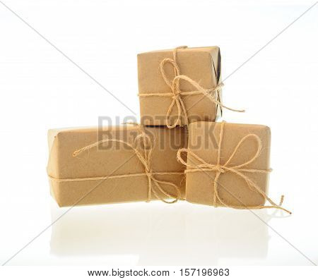 boxes of kraft paper isolated on white background.