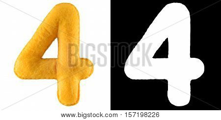 Number 4. Hand made number Four from yellow felt. Set of numbers from colorful felt isolated on white with alpha mask