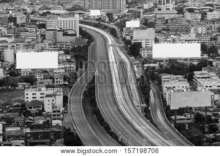 Black and White, Highway overpass in the city downtown