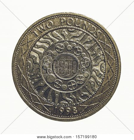 Vintage Two Pounds Coin