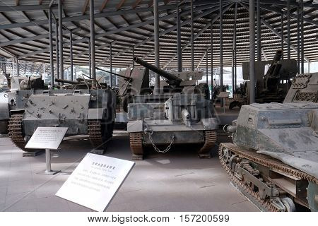 BEIJING - FEBRUARY 25: Canadian UC - F1 type light crawler tractor and the Canadian Flame Tank in the Military Museum of the Chinese People's Revolution in Beijing, China, February 25, 2016.