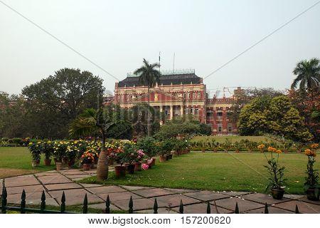 KOLKATA, INDIA - FEBRUARY 10: Mahakaran Garden in front of the Writers Building in Kolkata, India on February 10, 2016.
