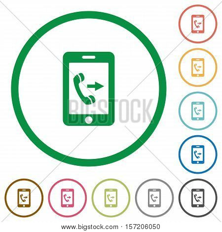 Outgoing mobile call flat color icons in round outlines