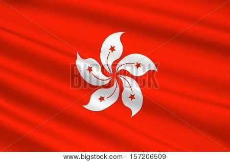Flag of Hong Kong officially Hong Kong Special Administrative Region of the Peoples Republic of China. 3d illustration