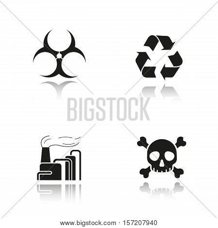 Industrial pollution drop shadow black icons set. Biohazard and recycle symbols, factory air pollution and skull with crossbones poison sign. Isolated vector illustrations