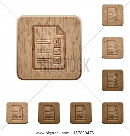 Questionnaire document icons in carved wooden button styles