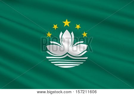 Flag of Macau also spelled Macao officially known as the Macau Special Administrative Region of the Peoples Republic of China. 3d illustration