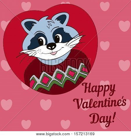 Raccoon in red jersey. Picture for clothes cards. Happy Valentine's Day!